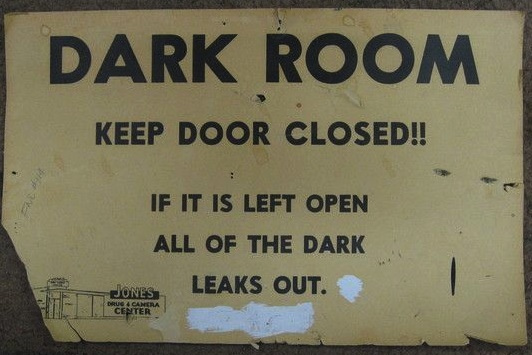 dark room sign